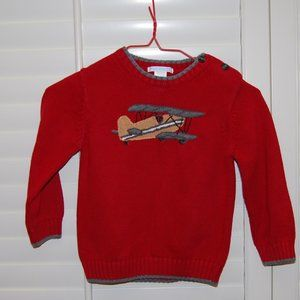 Janie and Jack Red Airplane Sweater
